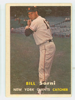 1957 Topps Baseball 86 Bill Sarni New York Giants Very Good