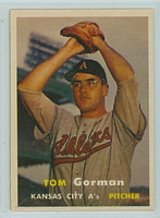 1957 Topps Baseball 87 Tom Gorman Kansas City Athletics Excellent to Mint