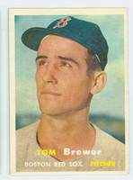 1957 Topps Baseball 112 Tom Brewer Boston Red Sox Very Good to Excellent
