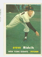 1957 Topps Baseball 123 Steve Ridzik New York Giants Very Good