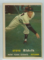 1957 Topps Baseball 123 Steve Ridzik New York Giants Very Good to Excellent