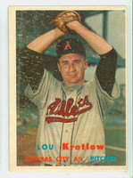 1957 Topps Baseball 139 Lou Kretlow Kansas City Athletics Very Good