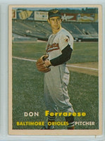 1957 Topps Baseball 146 Don Ferrarese Baltimore Orioles Excellent to Mint