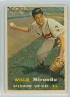 1957 Topps Baseball 151 Willie Miranda Baltimore Orioles Very Good to Excellent
