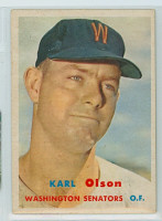 1957 Topps Baseball 153 Karl Olson Washington Senators Very Good to Excellent