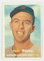 1957 Topps Baseball 169 Herb Plews Washington Senators Very Good