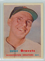 1957 Topps Baseball 179 Ernie Oravetz Washington Senators Very Good to Excellent