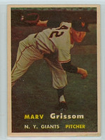 1957 Topps Baseball 216 Marv Grissom New York Giants Very Good to Excellent