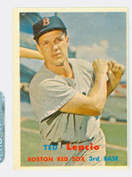 1957 Topps Baseball 288 Ted Lepcio Tough Series Single Print Boston Red Sox Very Good to Excellent