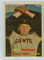 1957 Topps Baseball 310 Max Surkont Tough Series New York Giants Very Good to Excellent