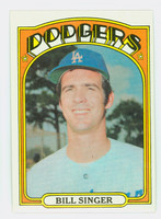1972 Topps Baseball 25 Bill Singer Los Angeles Dodgers Excellent to Mint
