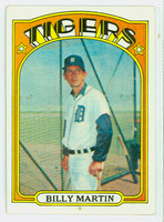 1972 Topps Baseball 33 Billy Martin Detroit Tigers Very Good to Excellent