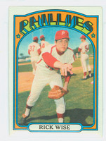 1972 Topps Baseball 43 Rick Wise Philadelphia Phillies Excellent to Excellent Plus