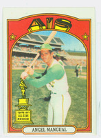 1972 Topps Baseball 62 Angel Mangual Oakland Athletics Excellent to Excellent Plus