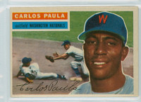 1956 Topps Baseball 4 Carlos Paula Washington Senators Excellent to Mint White Back