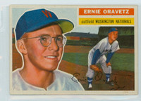 1956 Topps Baseball 51 Ernie Oravetz Washington Senators Excellent to Mint Grey Back