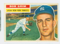 1956 Topps Baseball 52 Bob Grim New York Yankees Excellent White Back