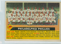 1956 Topps Baseball 72 b Phillies Team CENTER  Good to Very Good White Back