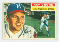 1956 Topps Baseball 76 Ray Crone Milwaukee Braves Excellent to Mint Grey Back