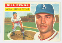 1956 Topps Baseball 82 Bill Renna Kansas City Athletics Excellent White Back