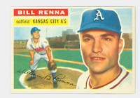 1956 Topps Baseball 82 Bill Renna Kansas City Athletics Excellent to Mint Grey Back