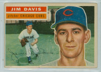 1956 Topps Baseball 102 Jim Davis Chicago Cubs Very Good to Excellent Grey Back