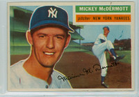 1956 Topps Baseball 340 Mickey McDermott New York Yankees Very Good