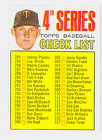 1967 Topps Baseball 278 Checklist Four Minnesota Twins Good to Very Good