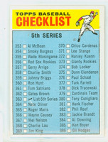 1966 Topps Baseball 363 Checklist Five Excellent to Mint