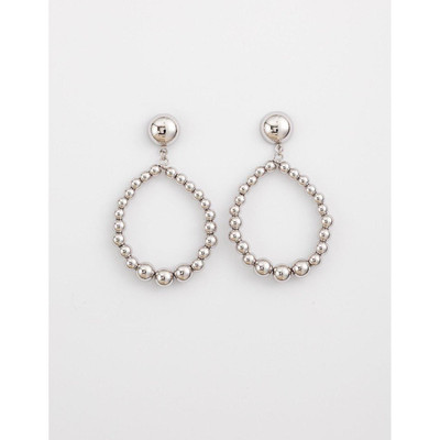 Stella & Gemma - Rhodium Bead Hoop Earrings