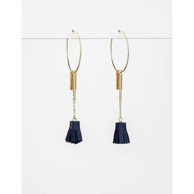 Stella & Gemma - Navy Hoop Tassel Earrings