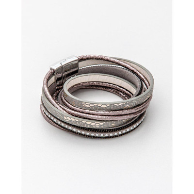 Stella & Gemma - 4 Wrap Double Rose/Grey Bracelet