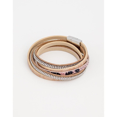 Stella & Gemma - Pink / Crystal / Leopard Wrap Bracelet