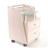 JA Maple Pedi Cart - Glass Top