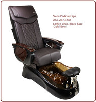 Siena Pedicure Spa Coffee Chair, Black Base & Gold Bowl