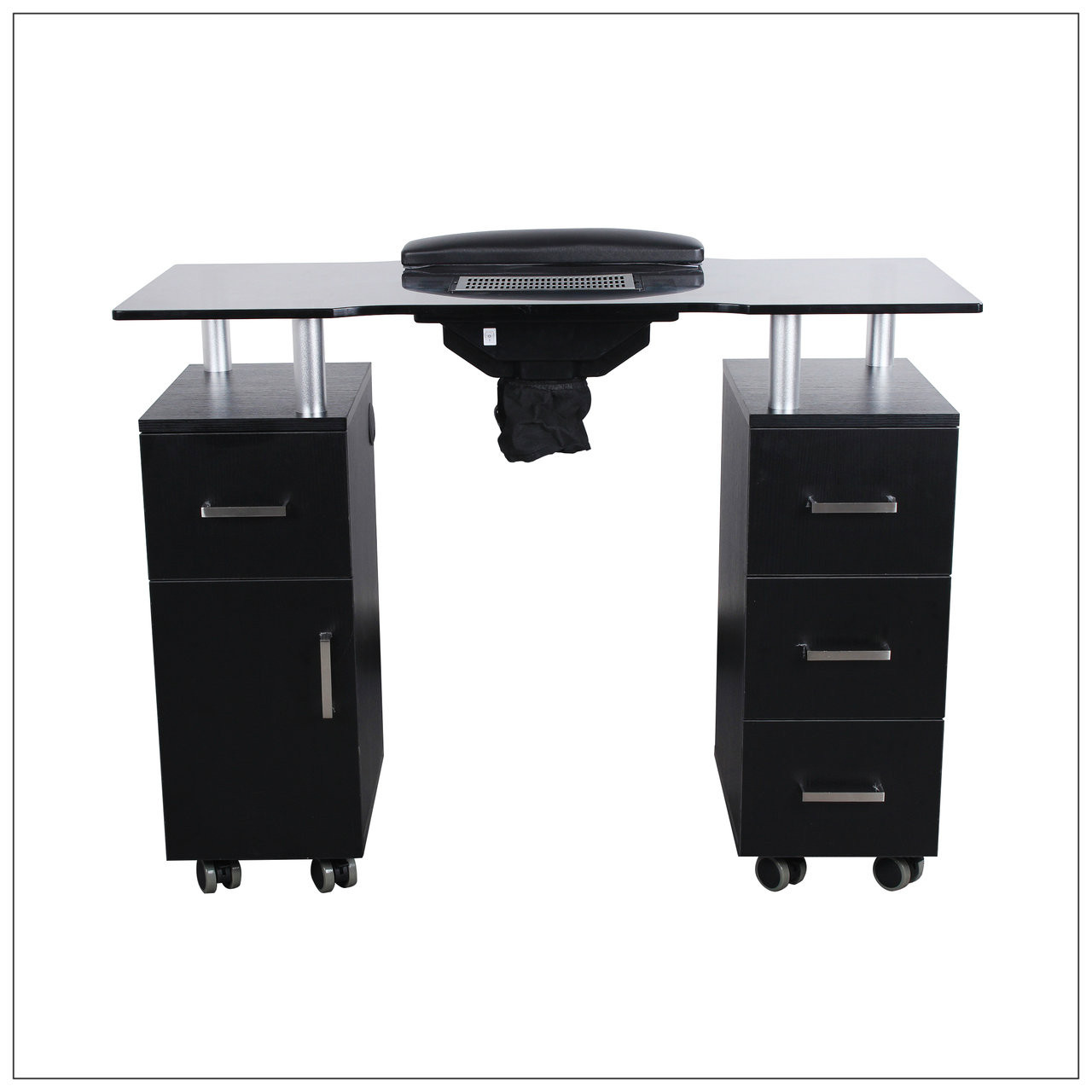 nice Black Nail Table Part - 18: Nail Table w- Fan Black