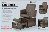 Plumbing Free Pedicure Chair with Manicure Table