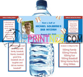 "CUSTOM WATER BOTTLE SELF ADHESIVE LABELS 2"" x 8.5"" BAR/BAT MITZVAH"