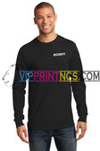 MENS BLACK SECURITY LONG SLEEVE TEE-PRINTED LEFT CHEST AND BACK