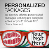 VIP CUSTOM PARTY GLASSES LENSES 100 PACK /BULK CUSTOMIZED PROMOTIONAL GLASSES