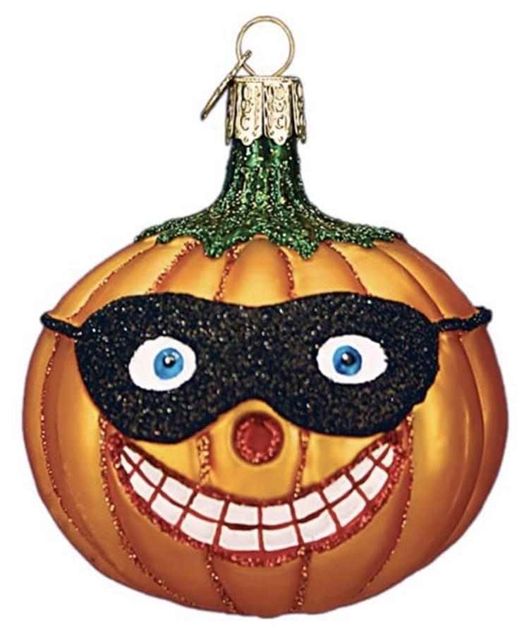 Old World Christmas Masked Jack O'lantern Glass Ornament - 10cm