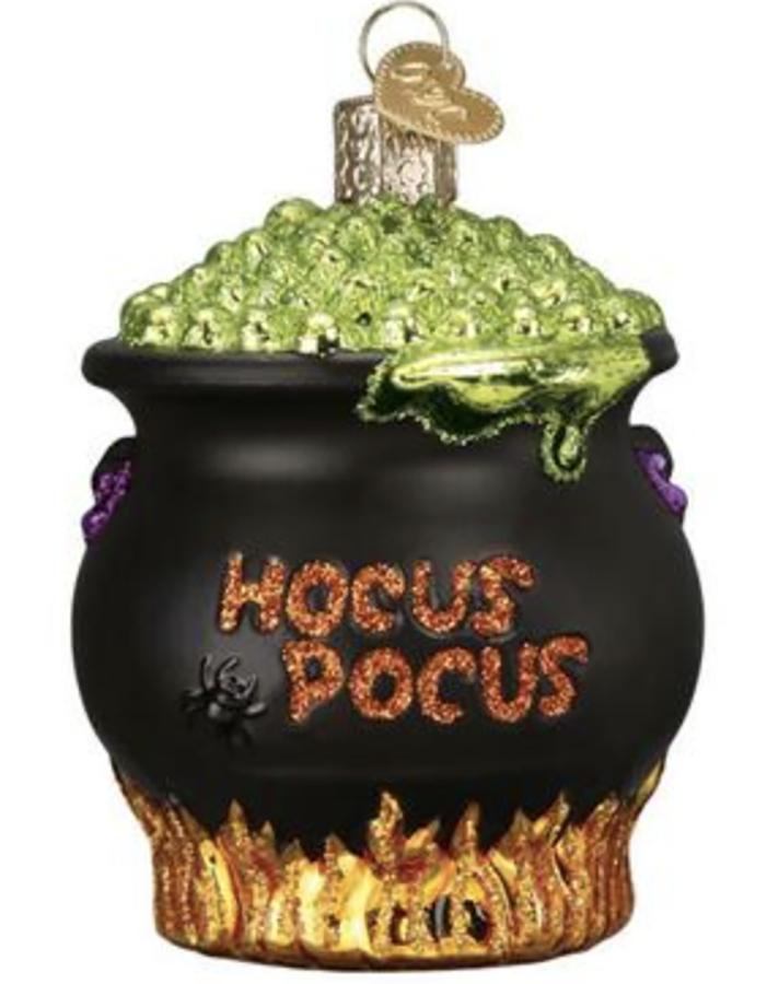 Old World Christmas Halloween Cauldron Glass Ornament - 8cm