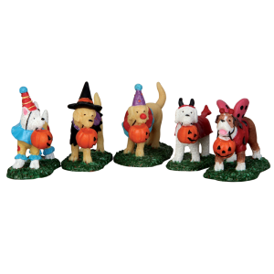 Lemax Trick-or-Treating Dogs (Set of 5)