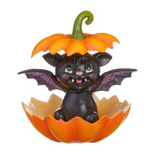 Raz Imports Bat with Pumpkin - 16cm