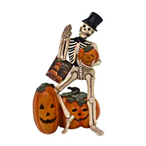 Bethany Lowe Waving Skeleton with Pumpkins