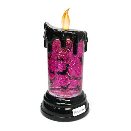 Flickering Halloween Candle with Motif  Pink