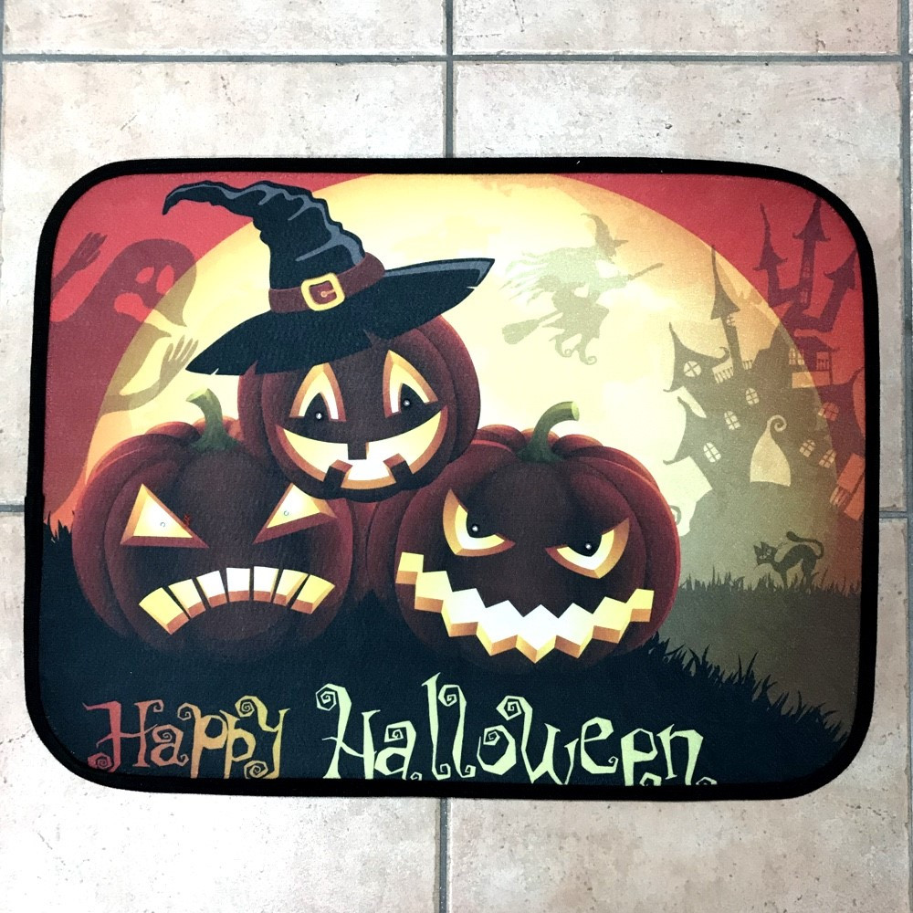 happy halloween pumpkins musical door mat - led lights - witches of