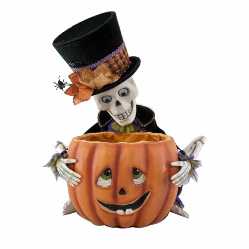 Katherines Collection Skeleton with Pumpkin Bowl