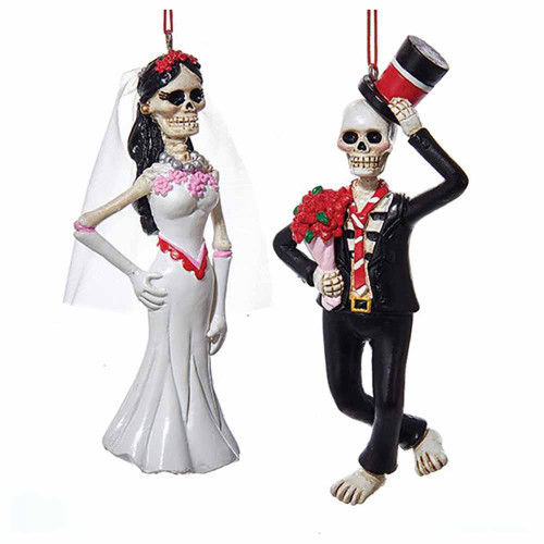 Kurt Adler Day of The Dead Bride & Groom Ornaments (2 Designs)