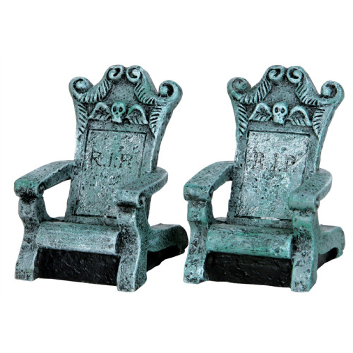 Lemax Tombstone Chairs, Set of 2
